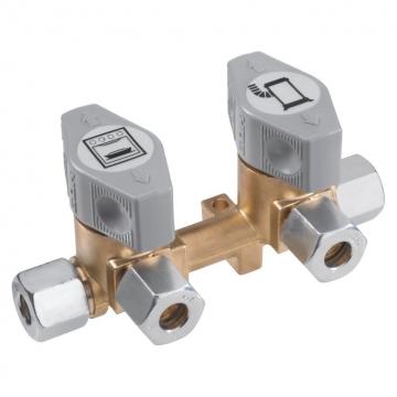 Blok rozvodu plynu - 2 ventily 8 mm