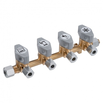 Blok rozvodu plynu - 4 ventily 8 mm